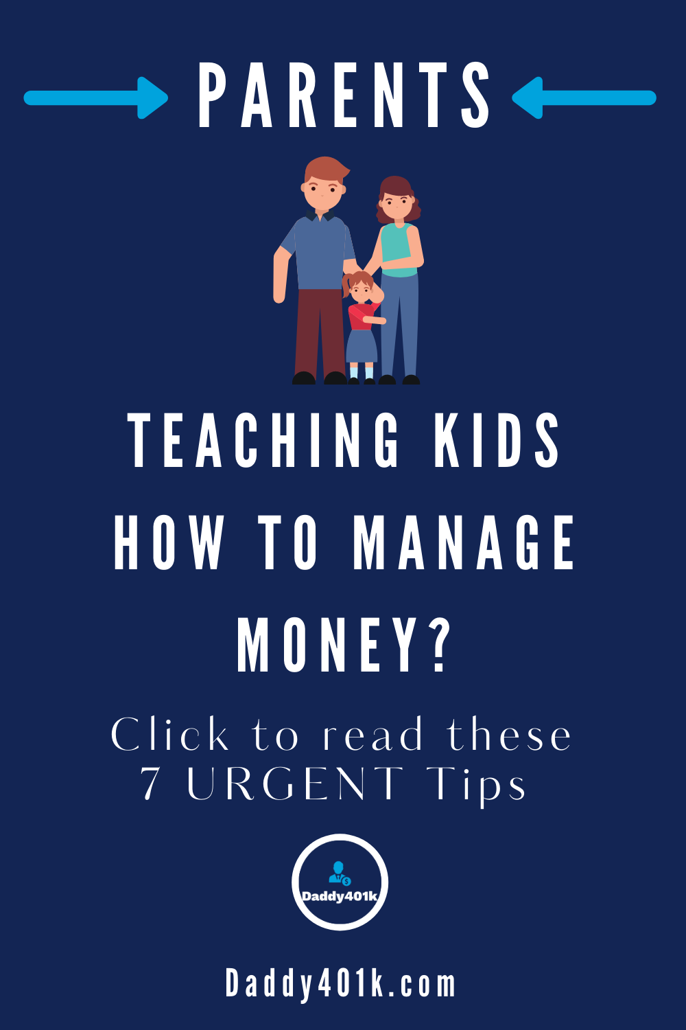Image of Pinterest pin about money management for kids